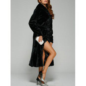 Warm Faux Fur Hooded Wrap Coat