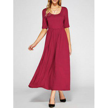 Maxi High Waist Pleated A Line Dress - RED RED