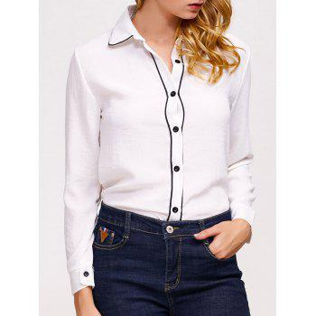 Slim Long Sleeve Button Chiffon Shirt