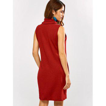 Cowl Neck Tank Sweater Dress - RED XL