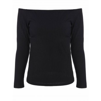 Off The Shoulder Ribbed Knitwear
