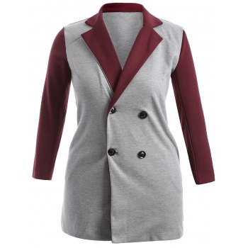 Plus Size Lapel Double-Breasted Coat