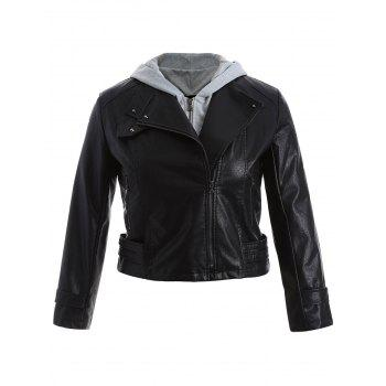 Plus Size Panel Hooded Faux Leather Jacket