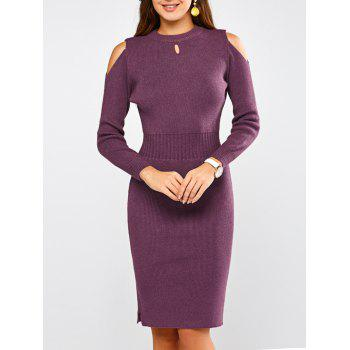 Sheath Cold Shoulder Sweater Dress