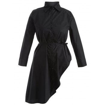 Plus Size Button Up Asymmetrical Dress