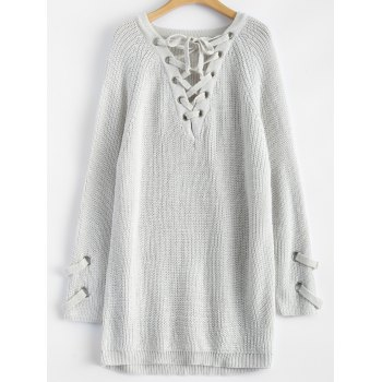 Chunky Lace-Up Longline Sweater