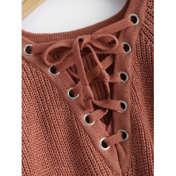 Chunky Lace-Up Longline Sweater - BRICK RED ONE SIZE