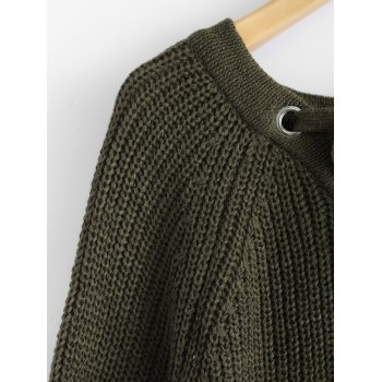 Chunky Lace-Up Longline Sweater - OLIVE GREEN ONE SIZE