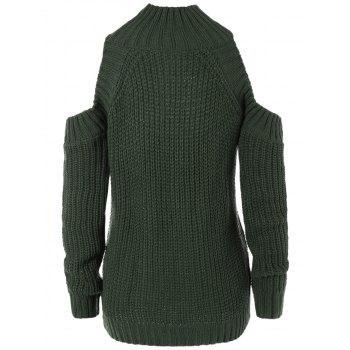 Cut Out Chunky Sweater - ARMY GREEN ONE SIZE