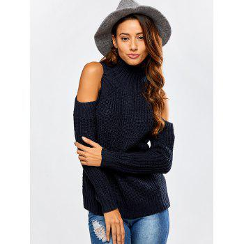 Cut Out Chunky Sweater - PURPLISH BLUE ONE SIZE