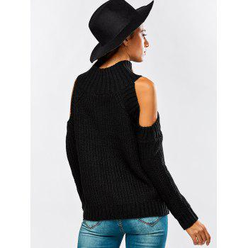 Cut Out Chunky Sweater - BLACK ONE SIZE