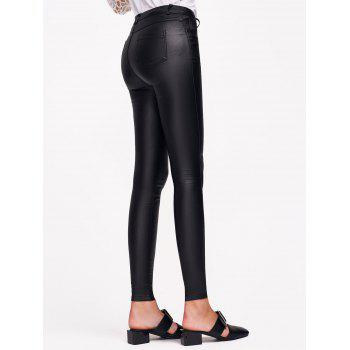 Stretchy Faux Leather Slimming Pants - BLACK L