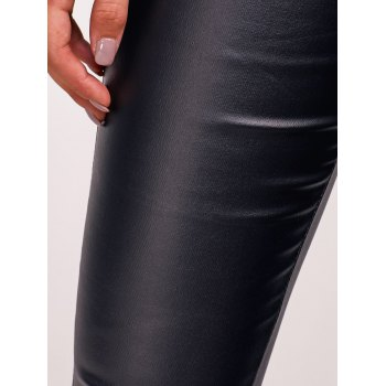 Scalloped Faux Leather High Waist Pants - BLACK S