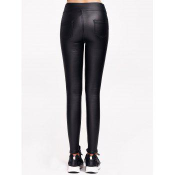 Faux Leather Flocking with Pockets Pants - BLACK L