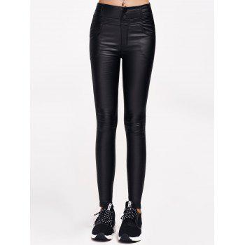 Faux Leather Flocking with Pockets Pants