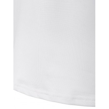 Striped Elbow Patch Tee - WHITE S