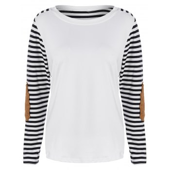 Striped Elbow Patch Tee