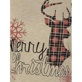 Christmas Elk Print Lace Paneled T-Shirt - WINE RED S