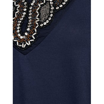 Rhinestone Embellished Asymmetrical Tee - PURPLISH BLUE L