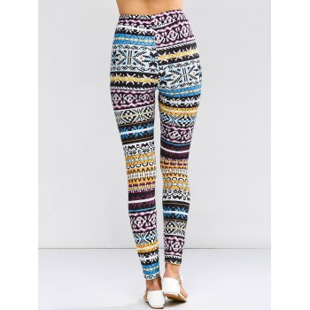 High Waist Tribal Patter Skinny Pants - COLORFUL S