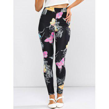 High Waist Butterfly Pattern Skinny Pants