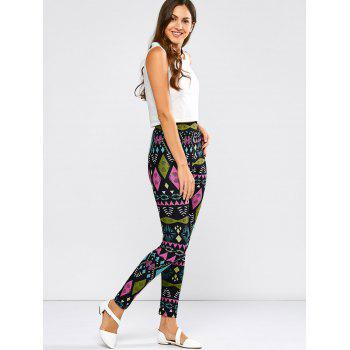 High Waist Tribal  Geometric Leggings - BLACK S