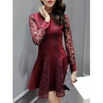 Long Sleeve Openwork Lace Flare Dress - WINE RED XL