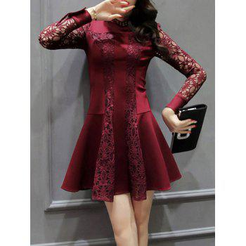 Long Sleeve Openwork Lace Flare Dress
