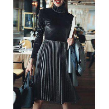Long Sleeve Turtleneck Pleated Velvet Dress