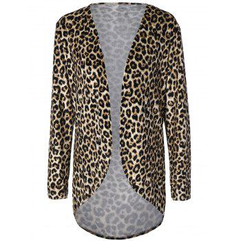 Cheetah Print Asymmetric Cardigan