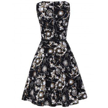 Vintage Swing Sleeveless Printed Dress - WHITE/BLACK WHITE/BLACK