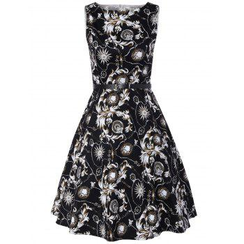 Vintage Swing Sleeveless Printed Dress - WHITE AND BLACK WHITE/BLACK