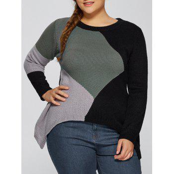 Asymmetric Pullover Plus Size Crew Neck Sweater