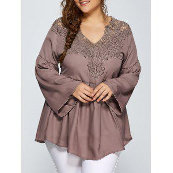 Lace Spliced Crochet Plus Size Blouse