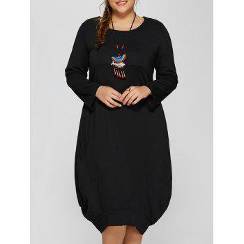 Long Sleeve Plus Size Midi Baggy Dress
