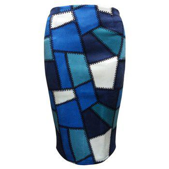 Geometric Patched  Pencil Skirt