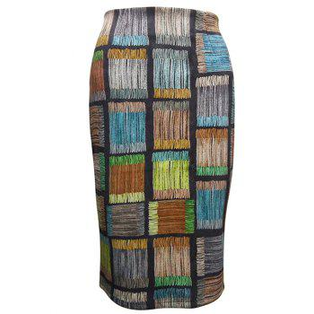 Checked Pattern Pencil Skirt