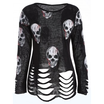 Skull Print Hollow Out Knitwear