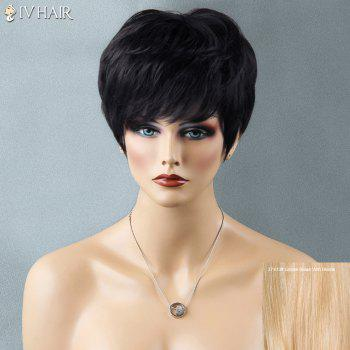 Shaggy Short Full Bang Straight Siv Human Hair Wig - GOLDEN BROWN WITH BLONDE GOLDEN BROWN/BLONDE