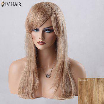 Long Straight Oblique Bang Siv Human Hair Wig - BLONDE BLONDE