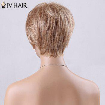 Pixie Cut Short Side Bang Straight Siv Human Hair Wig -  GOLDEN BROWN/BLONDE