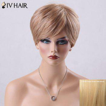 Pixie Cut Short Side Bang Straight Siv Human Hair Wig - GOLDEN BROWN WITH BLONDE GOLDEN BROWN/BLONDE