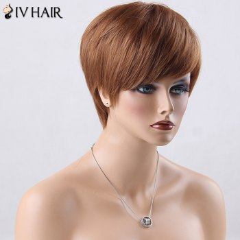 Boy Cut Short Side Bang Straight Siv Human Hair Wig -  AUBURN BROWN