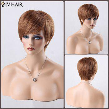 Boy Cut Short Side Bang Straight Siv Human Hair Wig - AUBURN BROWN #30 AUBURN BROWN