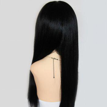 Long Lace Front Centre Parting Straight Indian Human Hair Wig -  BLACK