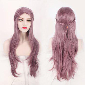 Long Layered Slightly Curled with Braided Middle Part Mixed Color Synthetic Cosplay Wig