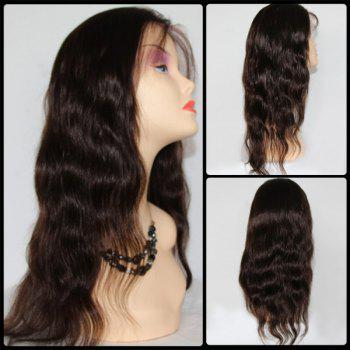 Side Bang Body Wave Lace Front Long Malaysian Human Hair Wig - BLACK BLACK
