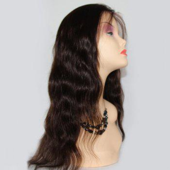 Side Bang Body Wave Lace Front Long Malaysian Human Hair Wig - BLACK
