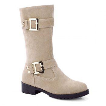 Suede Buckle Mid Calf Boots