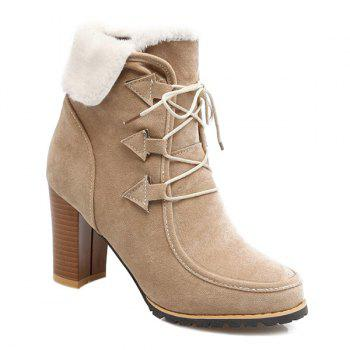 Chunky Heel Faux Furry Lace Up Ankle Boots